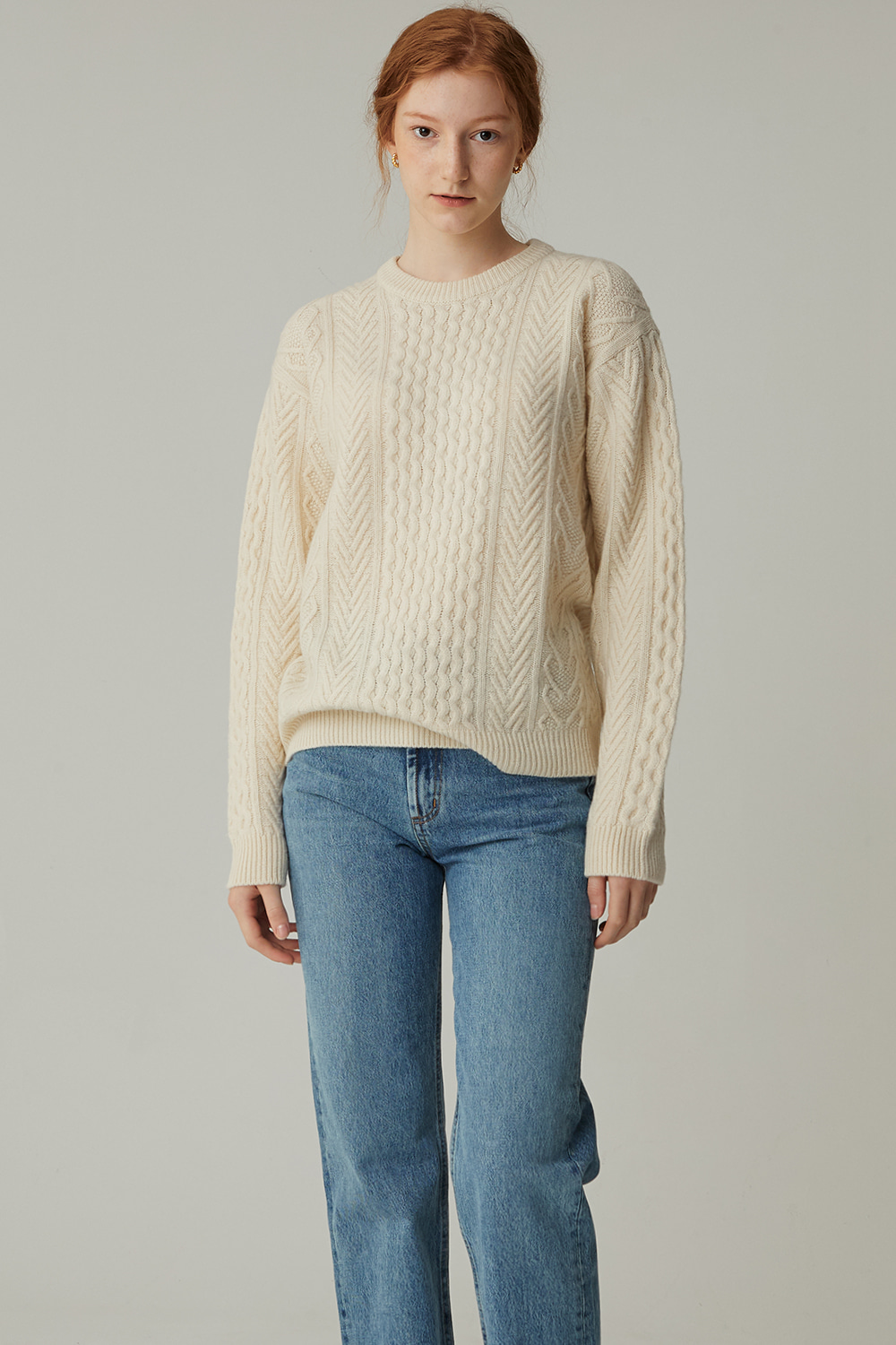 WOOL CABLE KNIT (CREAM)