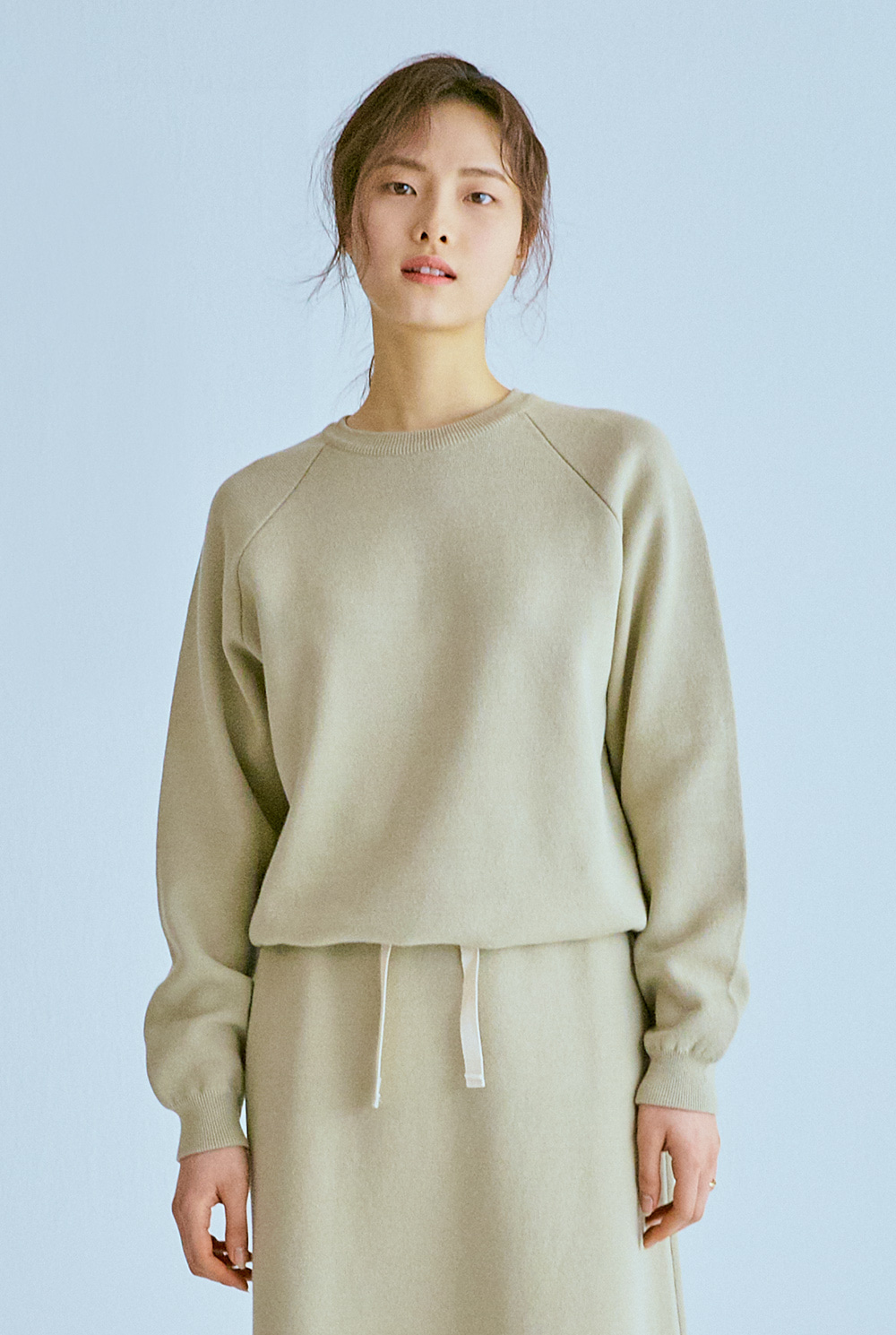 Knitted Sweat Top (D/Beige)