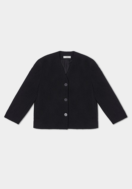 WOOL BOUCLE BLACK JACKET